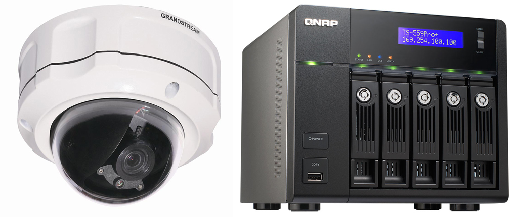 Solutions video recording and monitoring of QNAP, certified