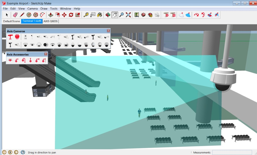 Interactive visualization of axis cameras with sketchup 3d 3d cad software