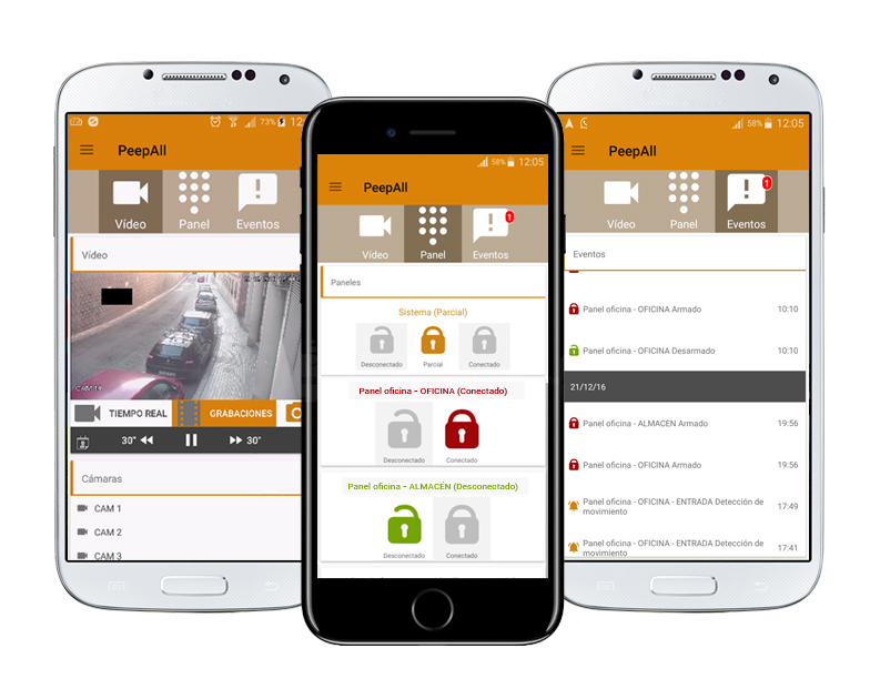 The PeepAll app combines with cameras Dahua Paradox alarm management