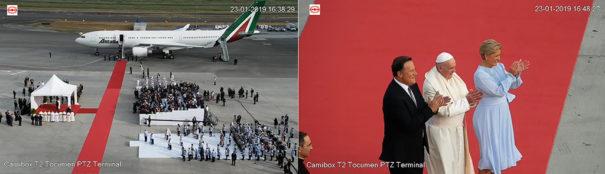 Vistas domo PTZ 4K Starlight DAHUA-1618 de la llegada del Papa Francisco el 23 de enero en el Aeropuerto de Tocumén (بناما)
